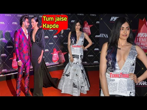 OMG Adah Sharma Newspaper  dress SHOCKED Deepika & Ranveer at Nykaa Femina Beauty Awards 2019