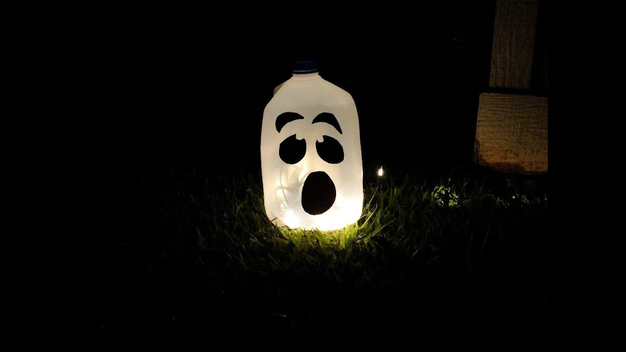 halloween ghost lantern using a milk jug a diy craft super easy youtube