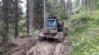 Zrywka drewna w Bieszczadach - logging extreme forwarder Timberjack 230 ( forest machine)