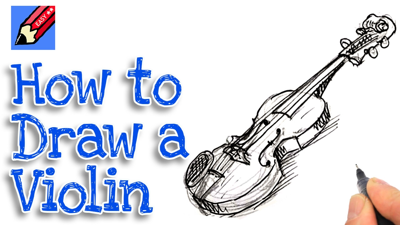 Learn how to draw a violin Real Easy for kids and ...