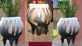 Make Flower pot /DIY/ Reuse Old Cloth- cement craft ideas