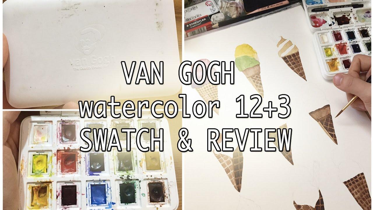 van gogh watercolor 12 3 pocket set swatch review youtube