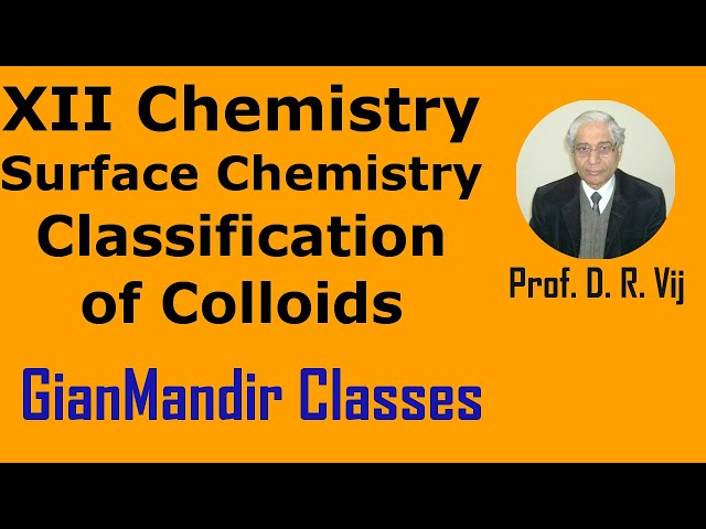 XII Chemistry | Surface Chemistry | Classification of Colloids by Gourav Sir