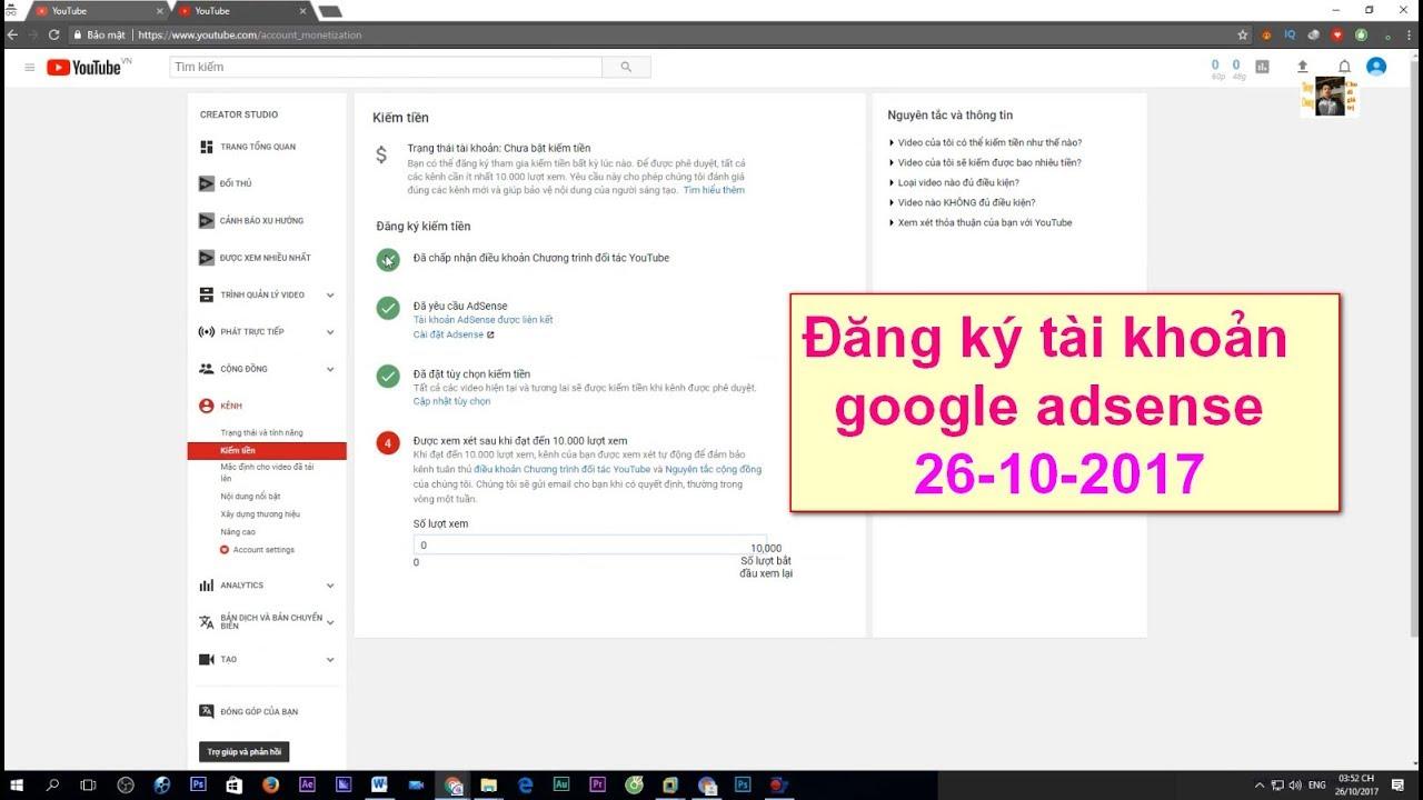 Tạo tài khoản google adsense kiếm tiền quảng cáo youtube mới nhất