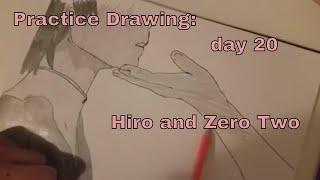 pratice drawing: day 20- Hiro and Zero Two (Strelizia)