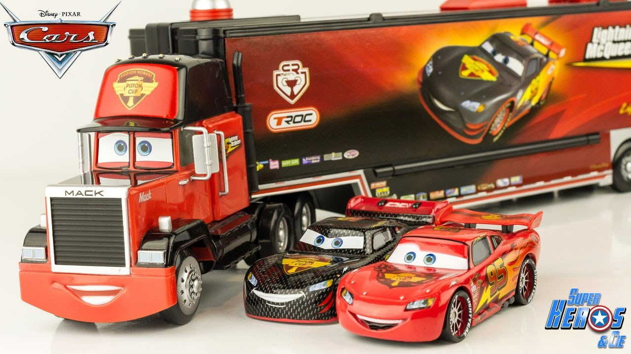 Disney Cars Carbon Racer Mack Truck Launcher Lightning Mcqueen Toy