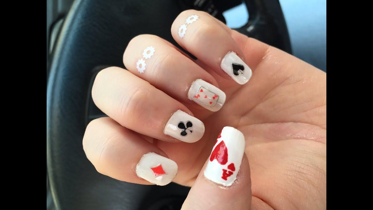DIY Playing Cards Nail Art | Nooj | رسم على الأظافر أوراق اللعب ...