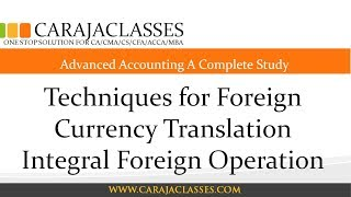 Techniques for Foreign Currency Translation Integral Foreign Operation