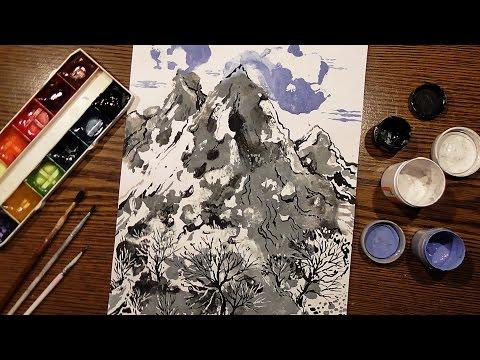 Speed Painting | Mountain Landscape | Technique Monotype | Gouache | IOTN
