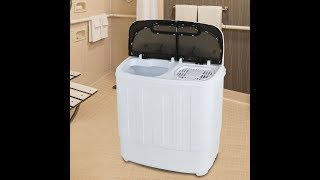 ZENY Portable Compact Mini Twin Tub Washing Machine 13lbs Capacity with Spin Dryer, Lightweight Smal