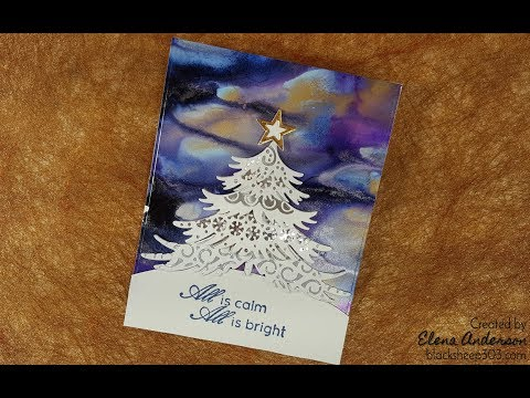 Northern Lights-ish Christmas Card with Alcohol Inks & Elizabeth Craft Designs