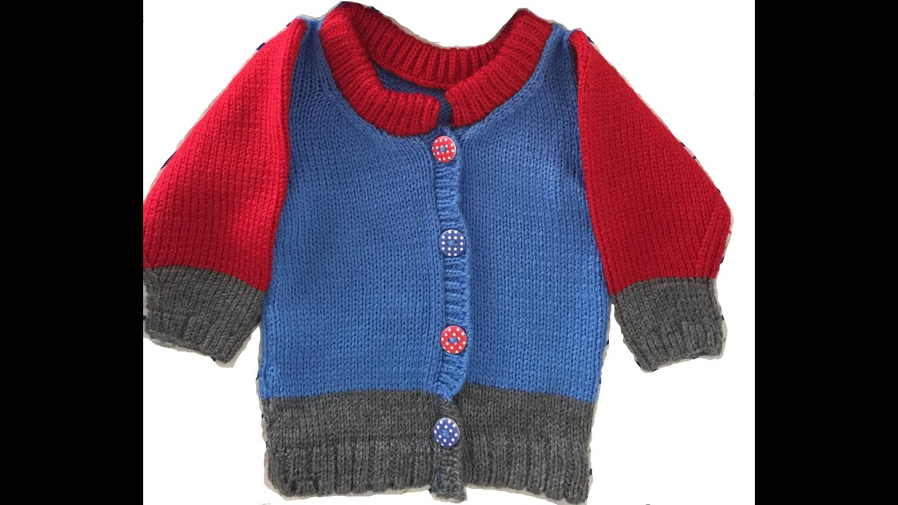Baby boy sweater KNITTING PATTERN instructions - YouTube