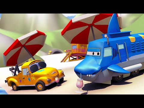 Car garage for kids -  Troy is a Shark Truck - Toms Paint Shop in Car City