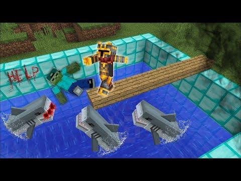 DON'T PUSH MARK THE FRIENDLY ZOMBIE INSIDE THIS DIAMOND PIT!! DANGEROUS CREATURE INSIDE!! Minecraft