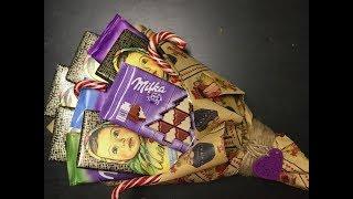 подробная инструкция создания простого сладкого букета из шоколадок для начинающих
