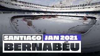 ❄️🏟️ Real Madrid's Santiago Bernabéu stadium covered in SNOW!