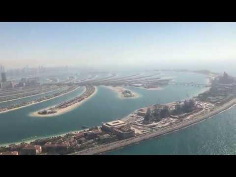 helicopter tour Dubai skyline Atlantis Palm Jumeirah crescent underground tunnel