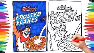 How to Draw Frosted Flakes for kids | Tony from Frosties coloring pages for kids | Learning coloring