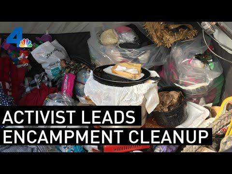 Activist Leads Homeless Encampment Cleanup  | NBCLA