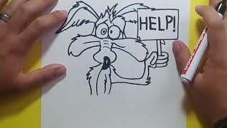 Como dibujar a Coyote paso a paso - Looney Tunes | How to draw Coyote - Looney Tunes