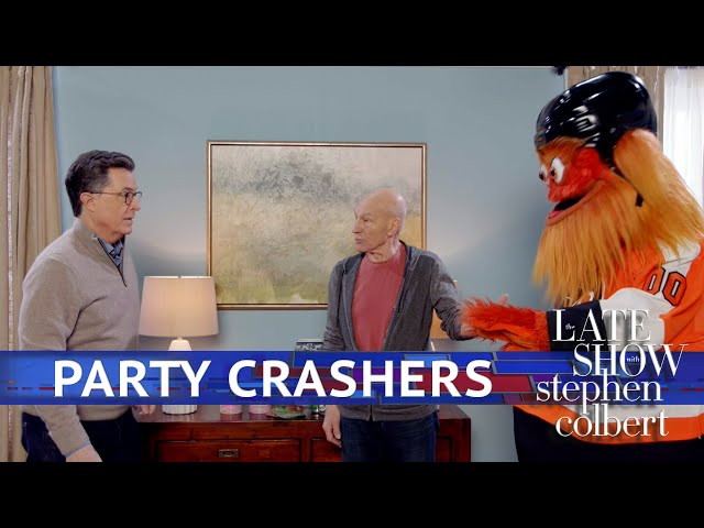 Stephen Colbert Has Epic Super Bowl Party With Patrick Stewart And