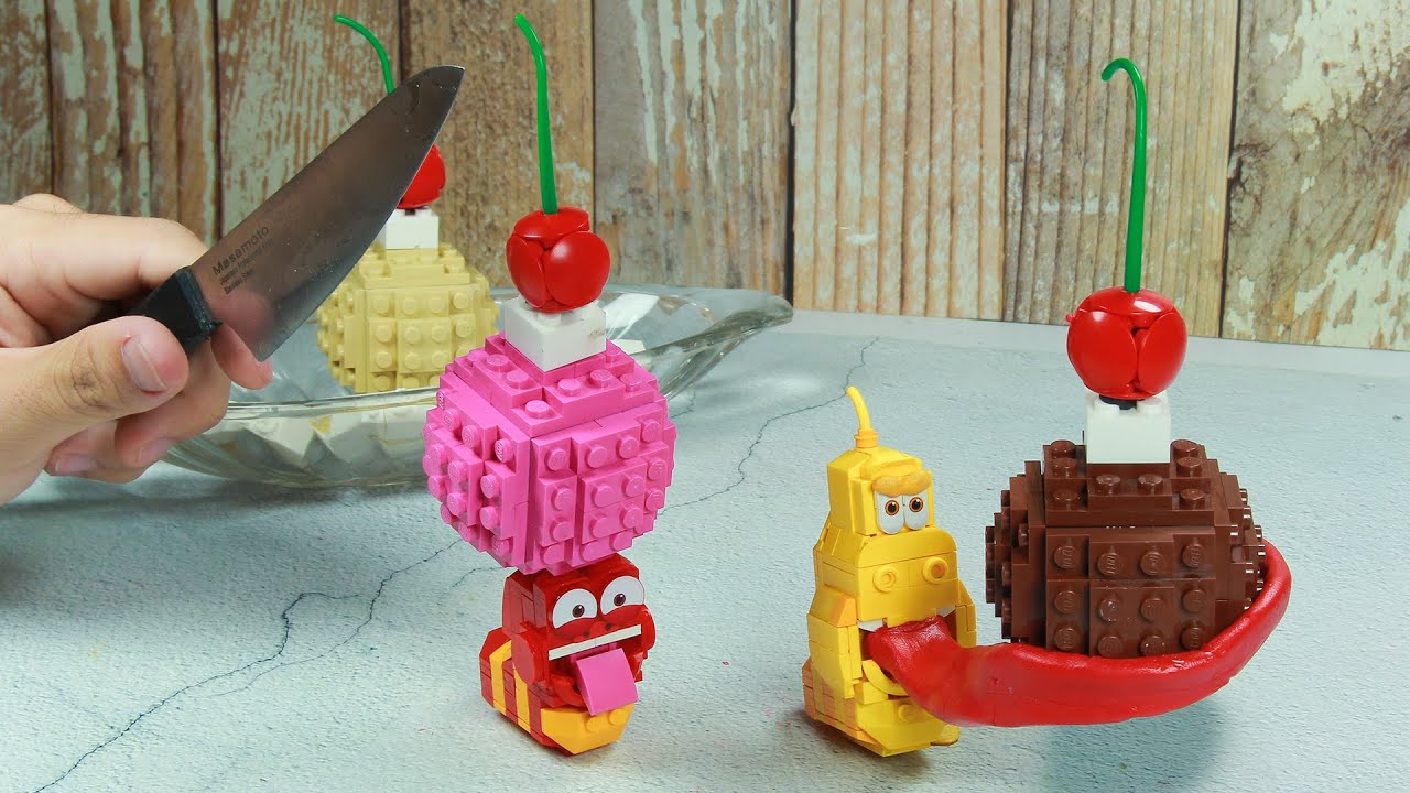 Lego Larva Animation : Thieves and Banana Ice Cream / Stop Motion Cooking ASMR