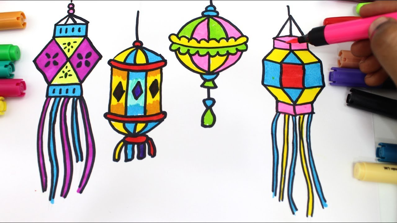 How to draw colourful diya and lantern for Diwali wishes step by ... for Diwali Lantern Drawing  165jwn