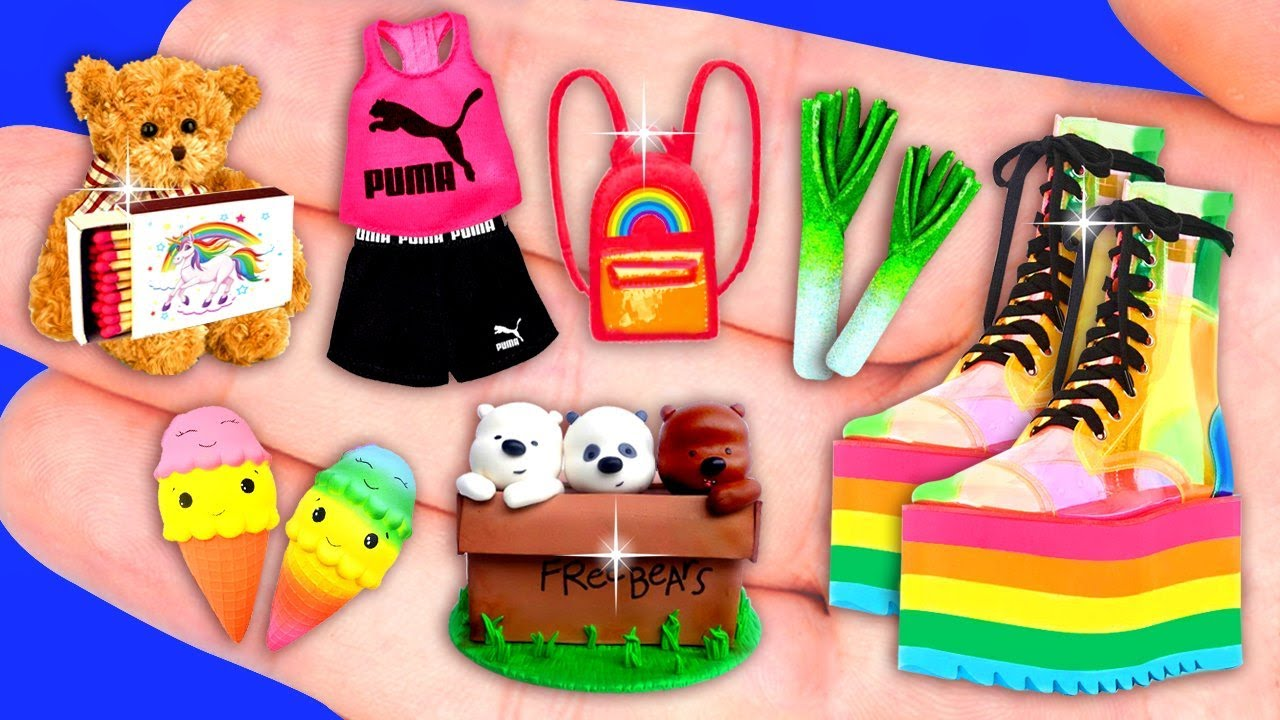 29 EASY MINIATURE CRAFTS IDEAS FOR BARBIE ~ Bare Bear, Puma Sports Clothing and more!