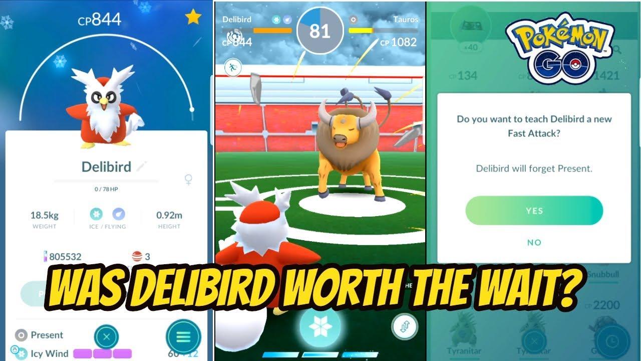 delibird present move test pokemon go youtube