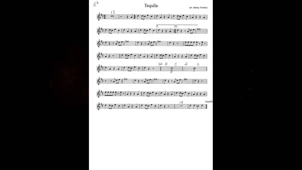 Tequila - The Champs (Saxophone Sheet Music)