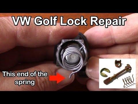 Volkswagen Golf Door lock cylinder repair and assembly tutorial