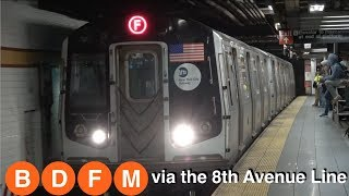 ⁴ᴷ (B) (D) (F) and (M) Trains running via the 8th Avenue Line