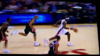 Lebron James Dunk from Free Throw Line (SIDE VIEW!!!!  Actual Video)