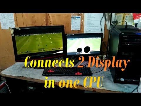 cara pasang dua monitor Di komputer / cara setting multi display pc.