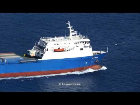 RoRo Cargo My Rose passing Oinousses Strait en route to Syria Tartous from Russia Novorossiysk.