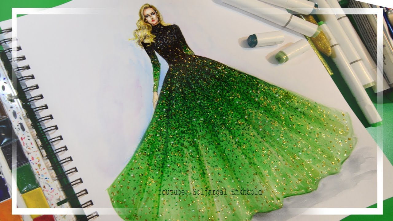 1e437939cb4 Fashion Illustration Painting for Beginners (Easy version) - Ombre Dress