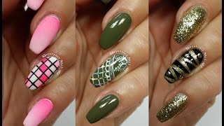 3 Easy Accent Nail Ideas! Freehand #8 (Khrystynas Nail Art)