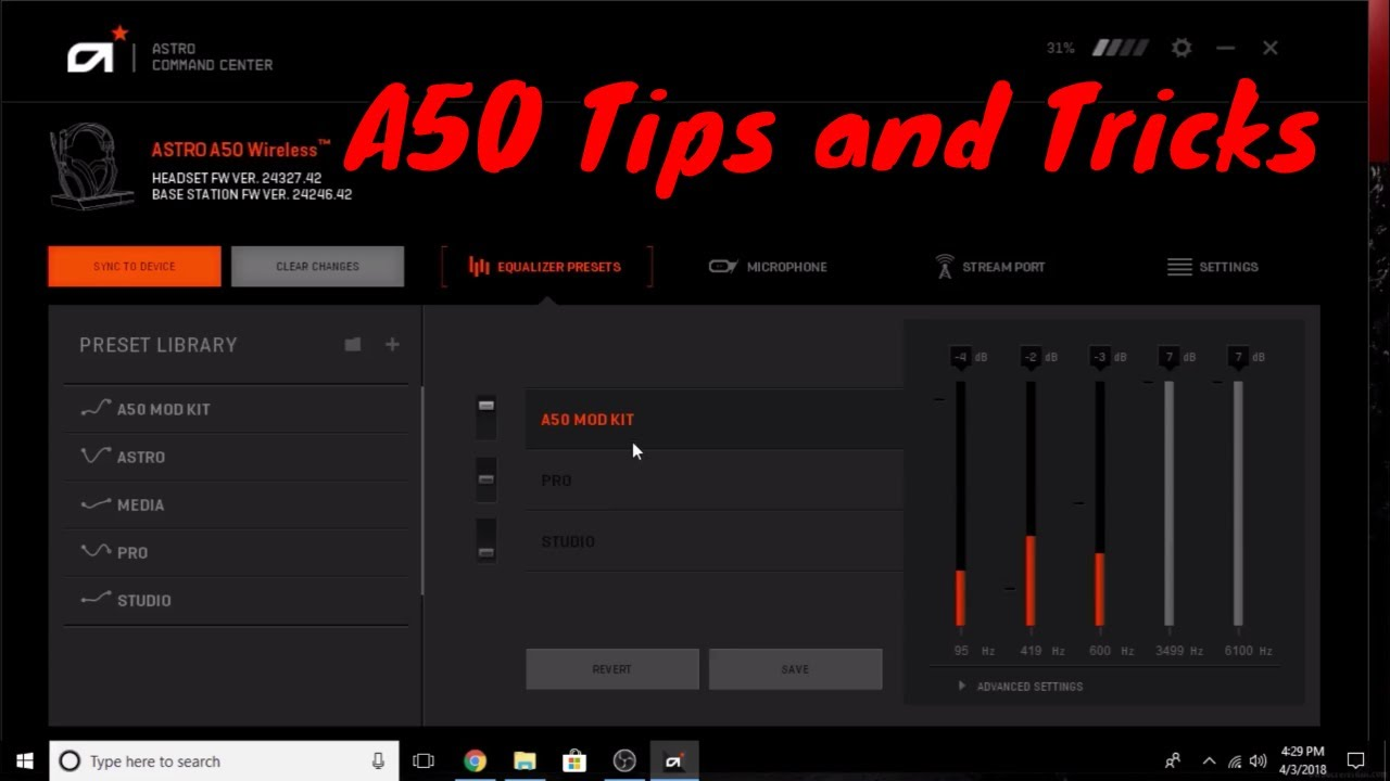 Astro A50 Gen 3 software update and eq settings tutorial