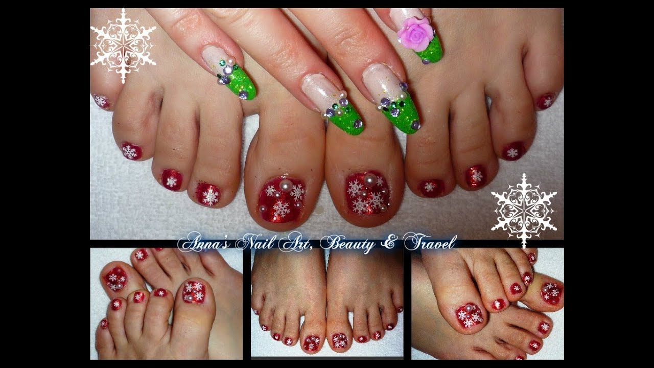 Snowflake toe nail design youtube prinsesfo Choice Image