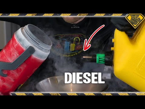 Pouring Diesel in Liquid Nitrogen