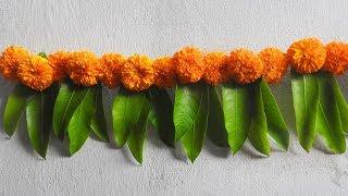 Diwali Toran Making With Marigold Flowers + Mango Leaves Diwali Decoration Ideas