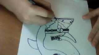 How to draw a Shark Character (CHOLO SHARK) by WIZARD