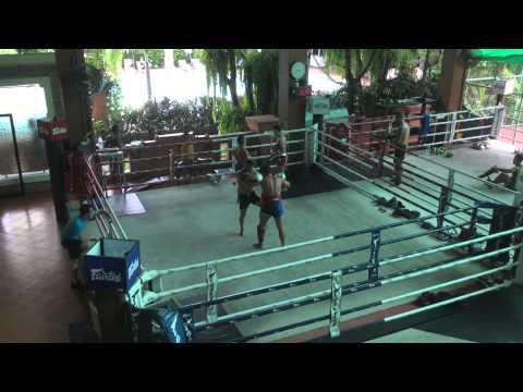 Pad work at Fairtex Muay Thai Training Camp in Pattaya Thailand