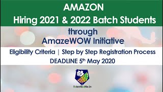 Update:Only Women's Drive!Amazon Hiring 2021-2022 Batch Students for Full Time Position & Internship