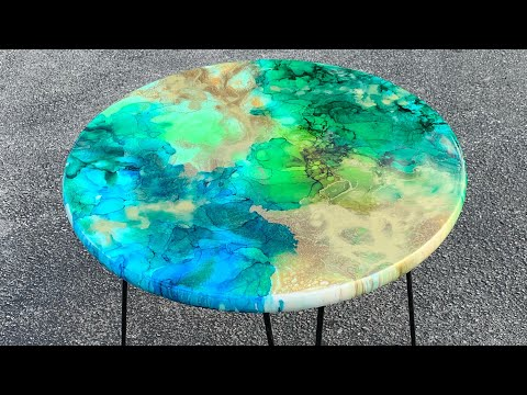 Resin Art Table / with alcohol ink- Diy step by step~Epoxy how to #wood