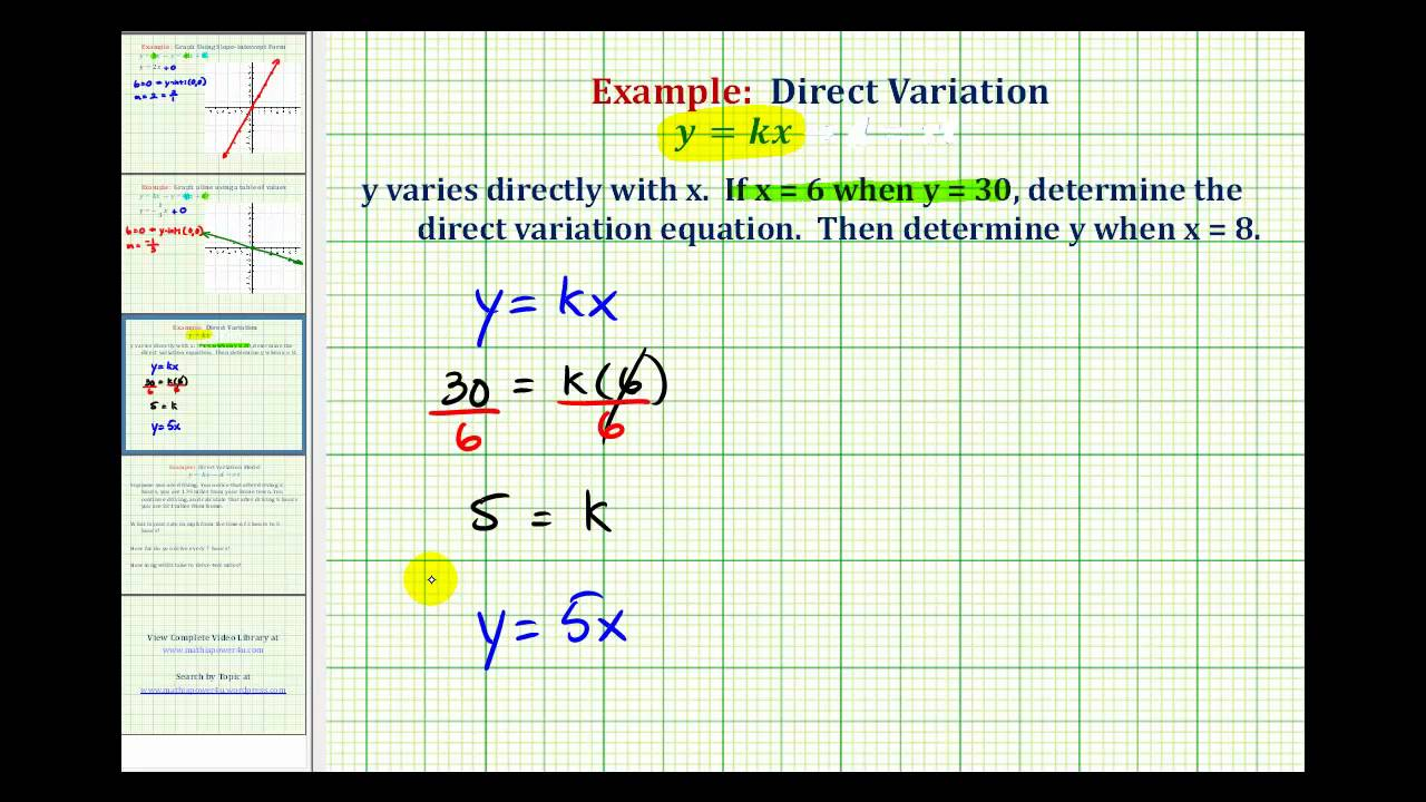 Ex Direct Variation Equation Youtube