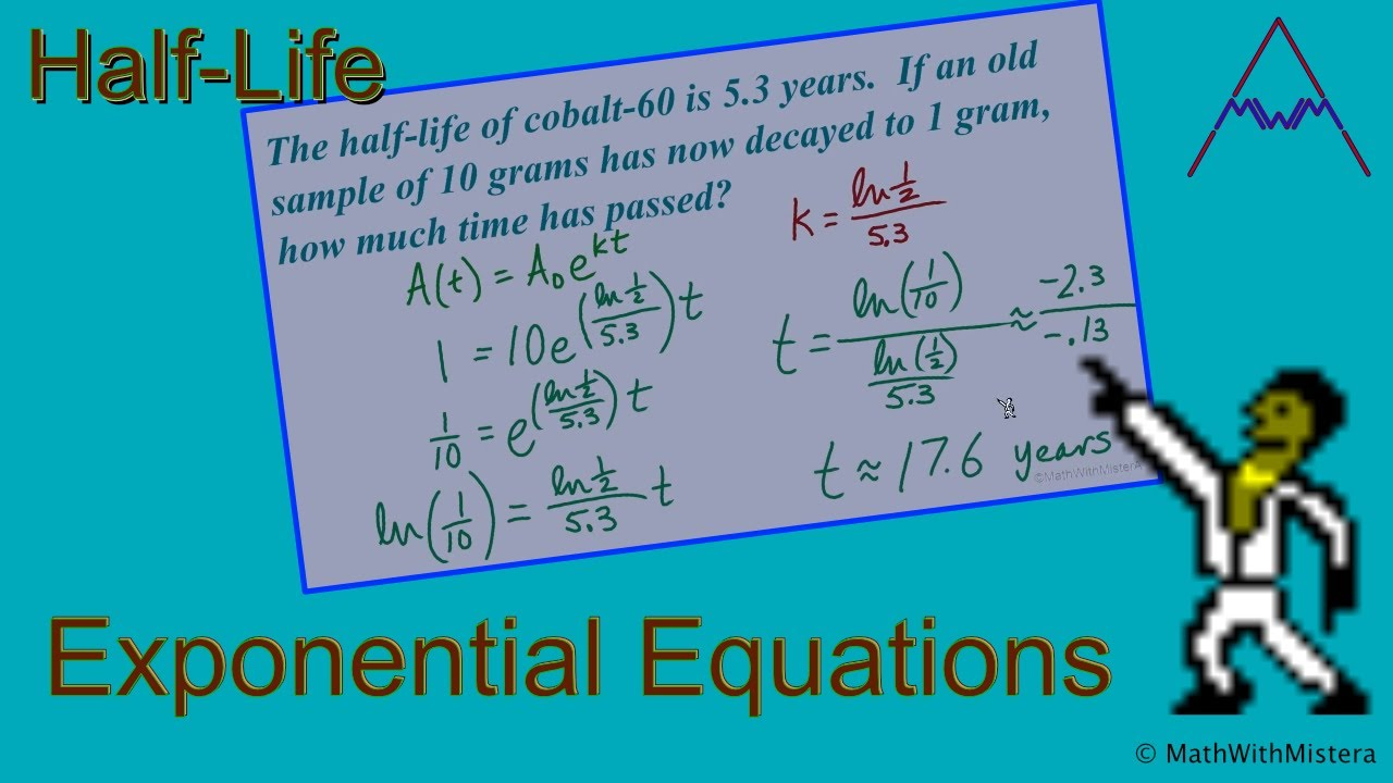 Exponential Equations: Half-Life Applications - YouTube
