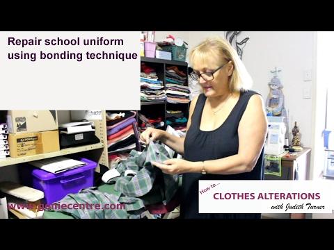 Repair school uniform with bonding powder