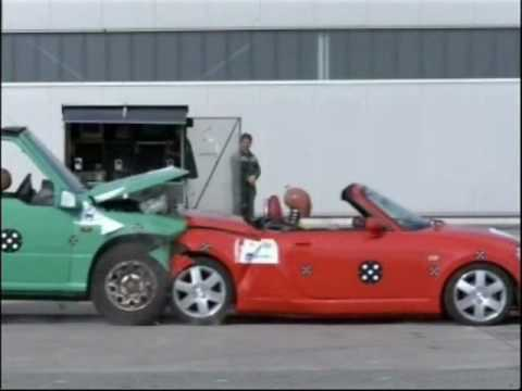 full crash test vitara I vs daihatsu copen in wildhouse..., by axa