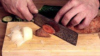 Обзор ножа Накири SATOSHI DAMASK кухонный нож / Накири Сатоши тест ножа на продуктах / Sergey Zhirov